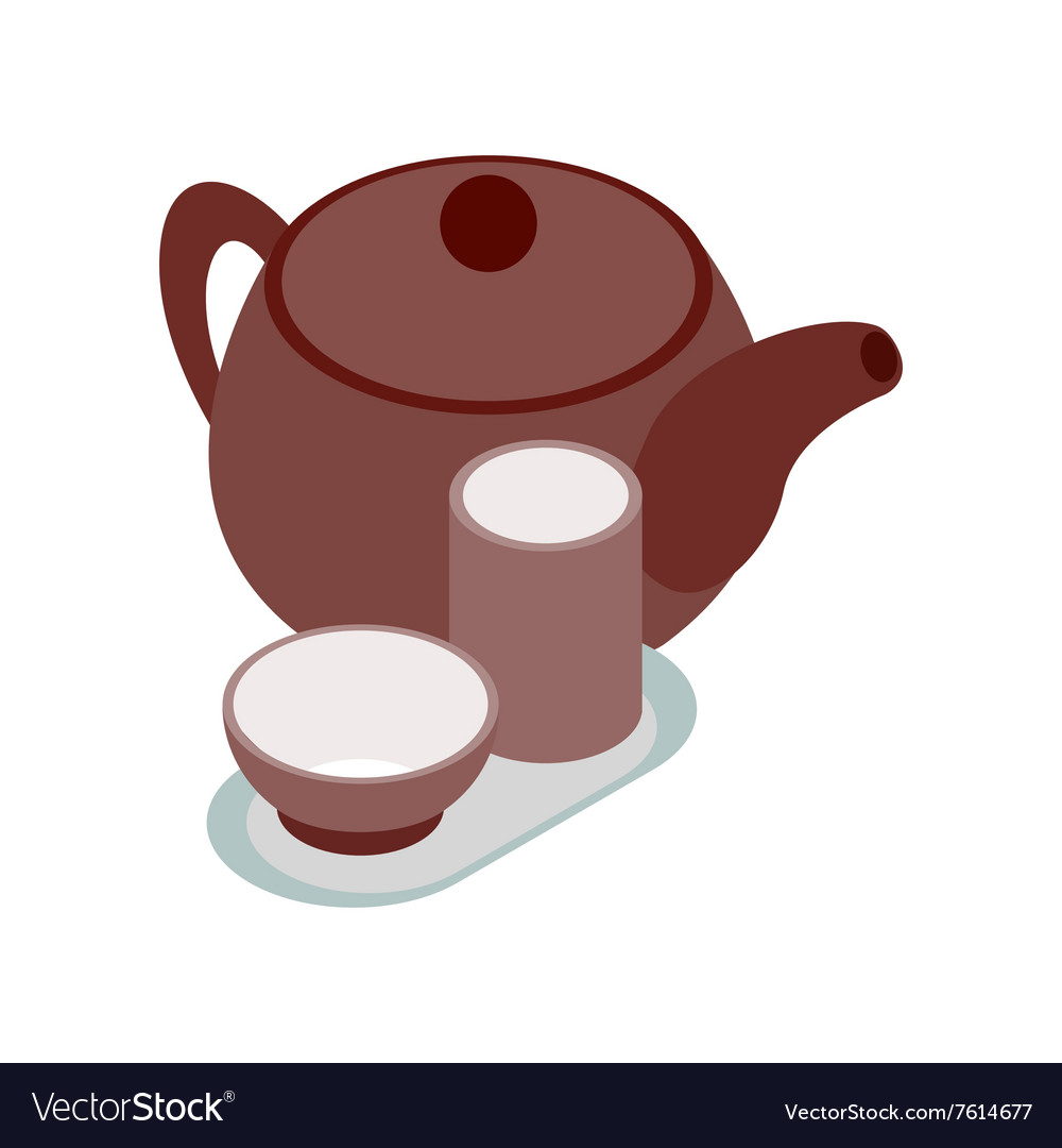 Chinese brown teapot and teacups icon vector