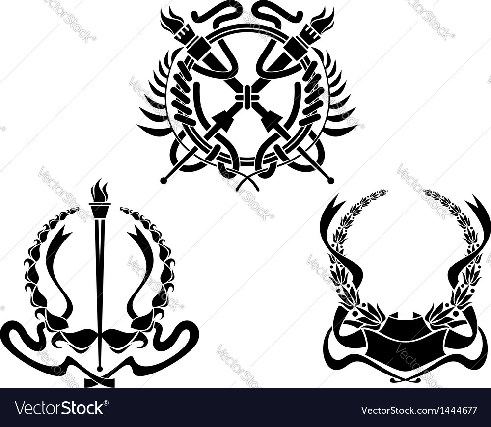 Coats of arms with heraldic elements vector