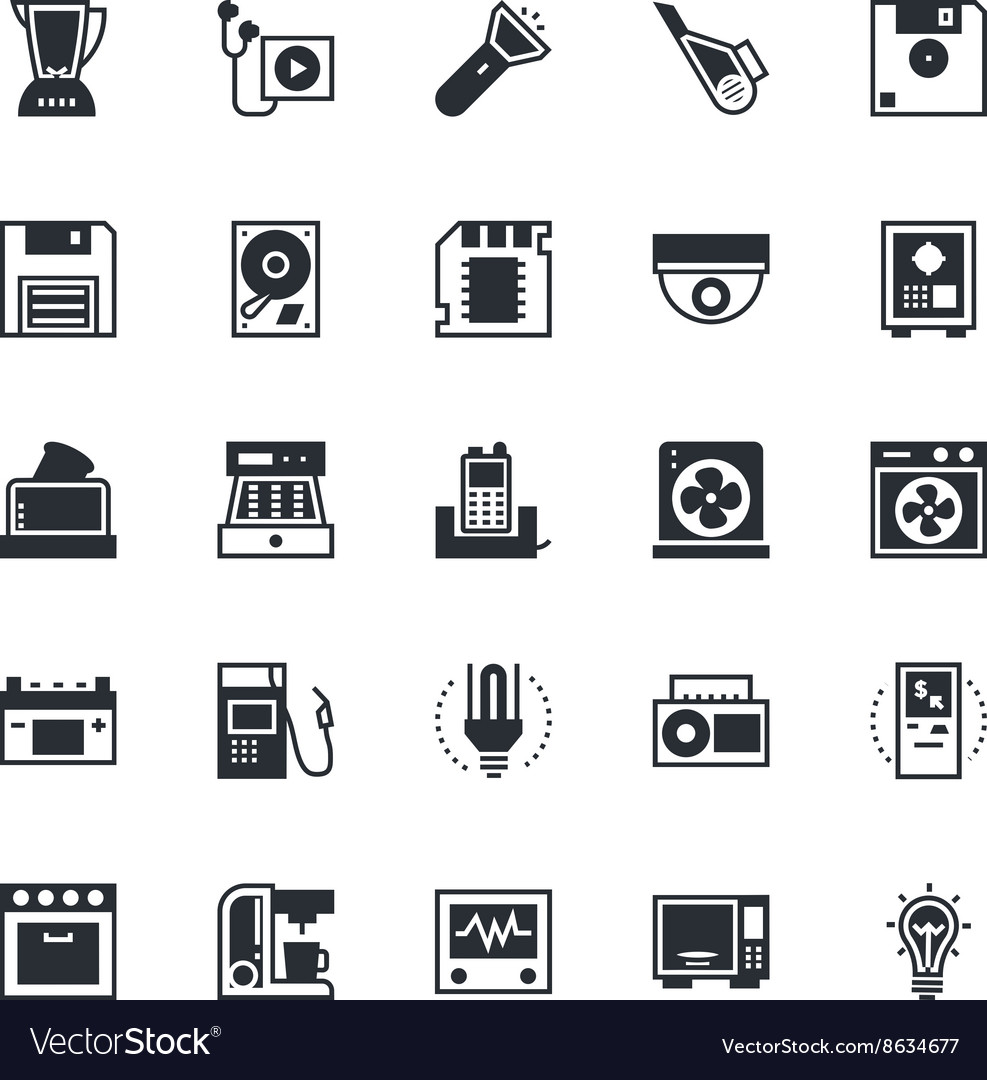 Electronics icons 5 vector