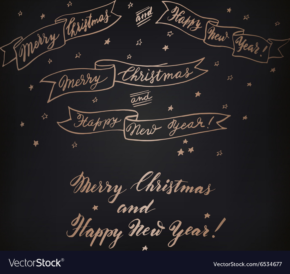 Set of hand drawn new year and christmas ribbons vector