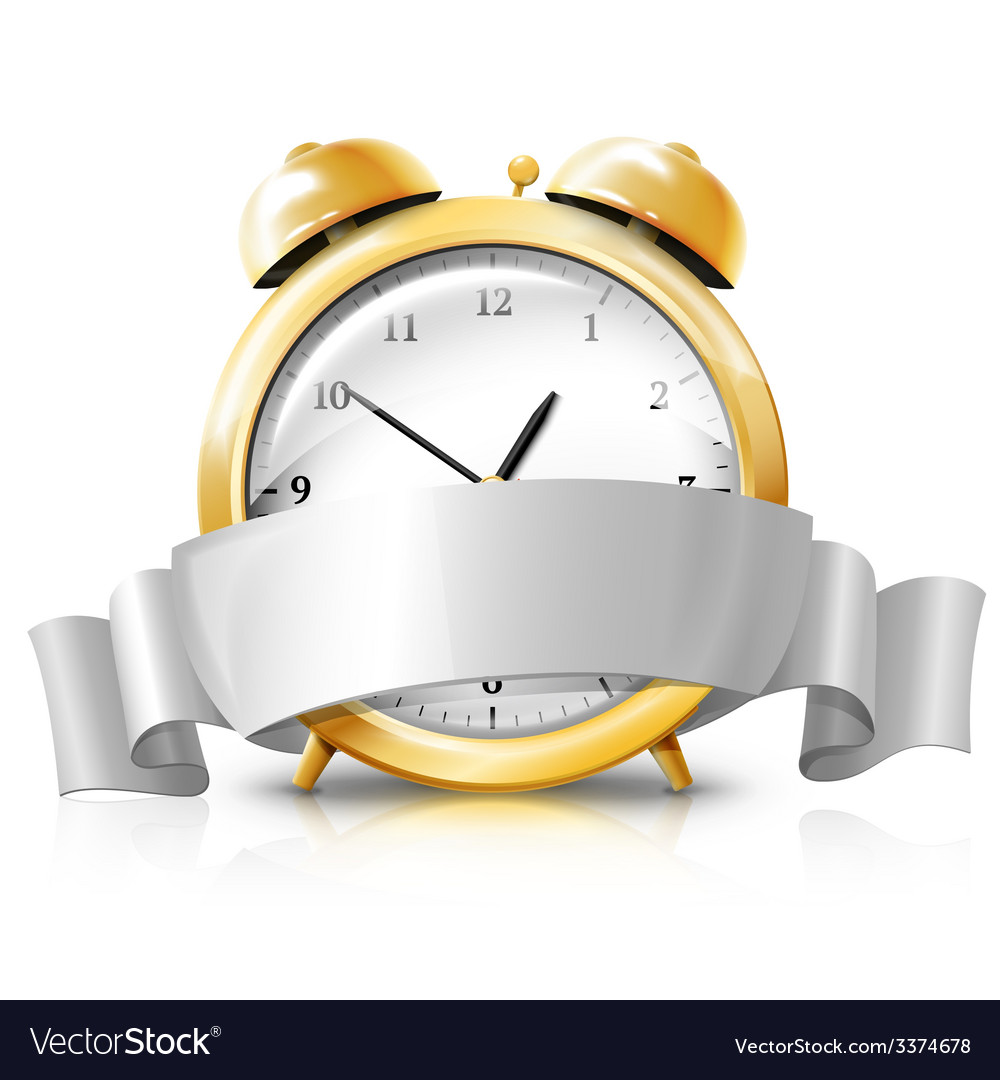 Golden alarm clock with silver white banner sale vector
