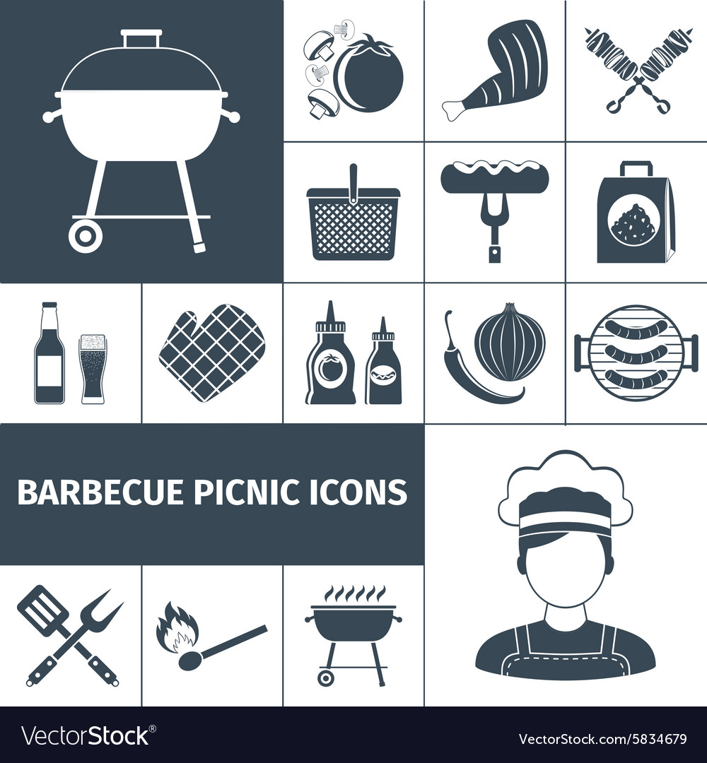 Barbecue picnic black icons set vector