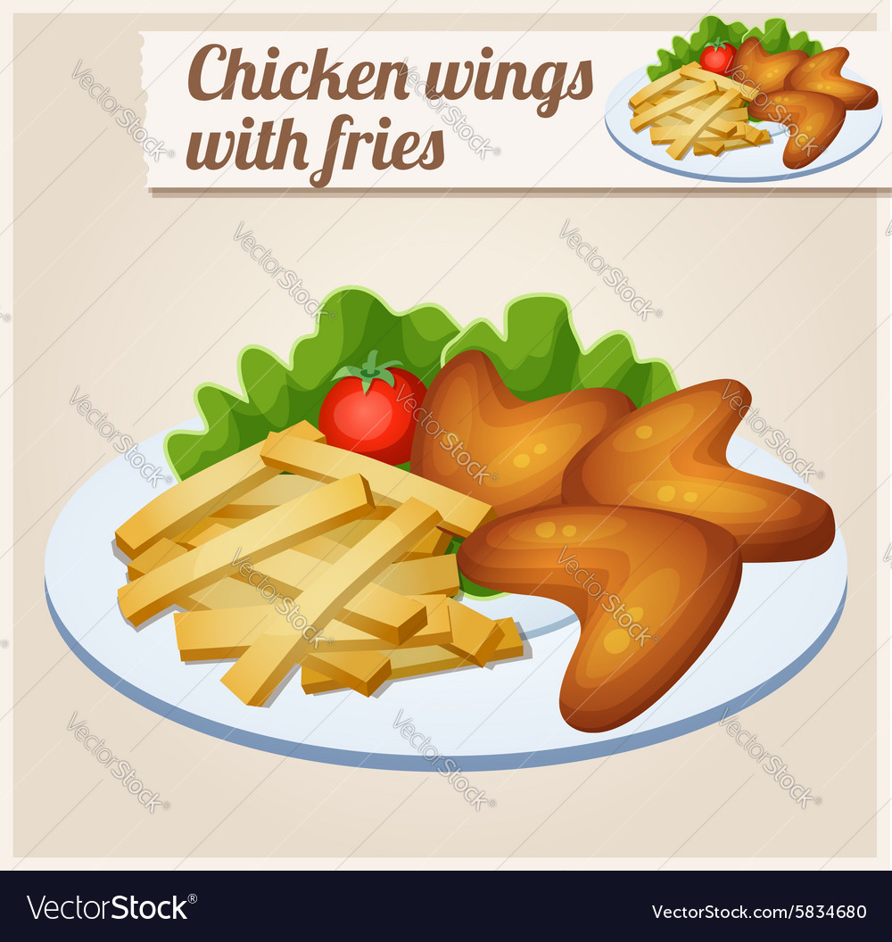 Chicken wings with french fries detailed vector