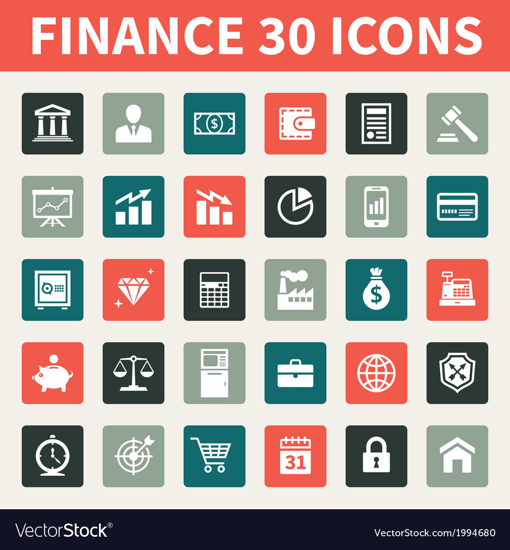 Finance and business 30 icons vector