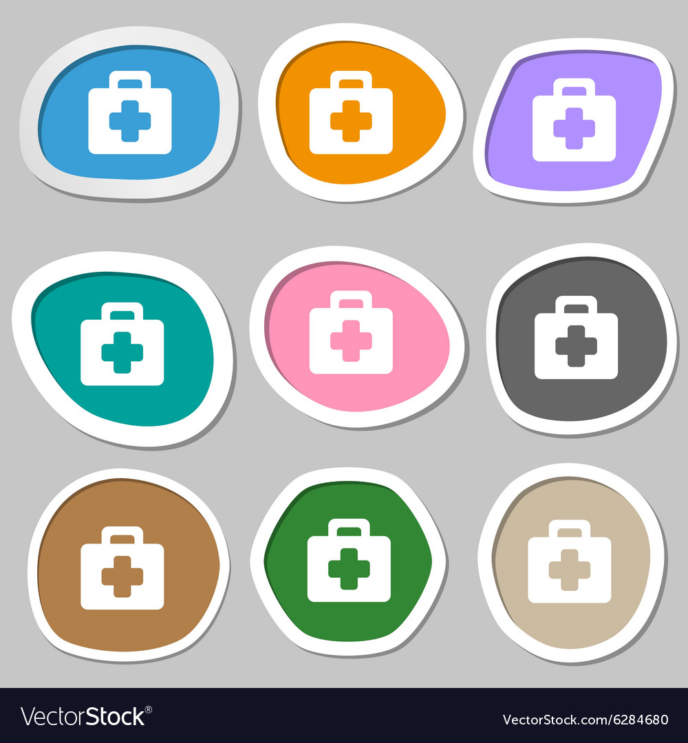 First aid kit icon symbols multicolored paper vector