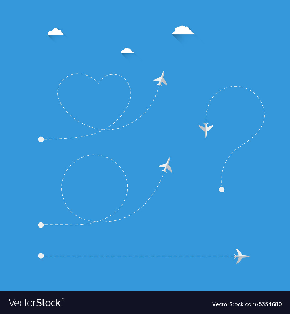 Plane infographic with dotted line symbols vector