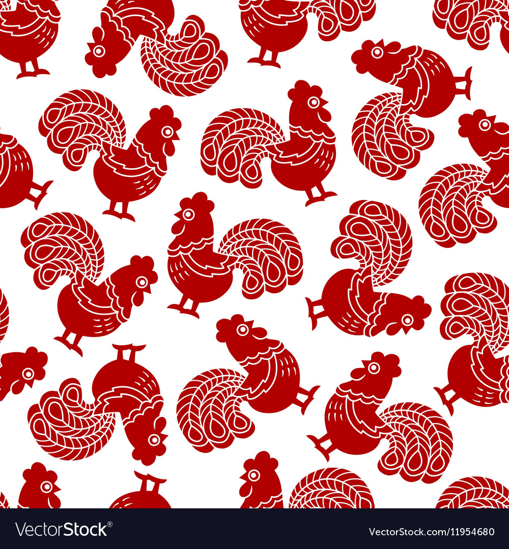 Seamless pattern with red cock rooster  symbol vector
