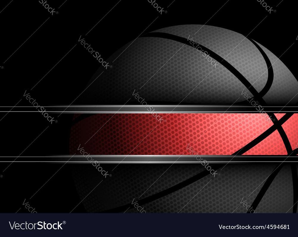 Basketball on black background vector