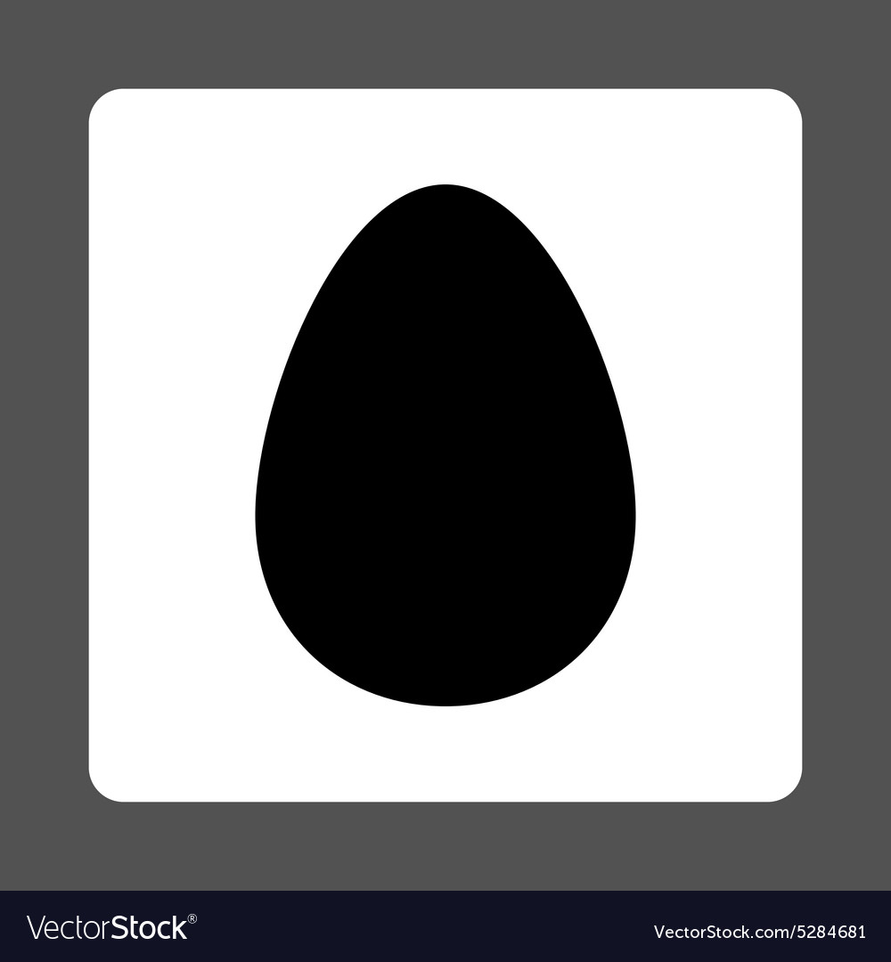 Egg flat black and white colors rounded button vector