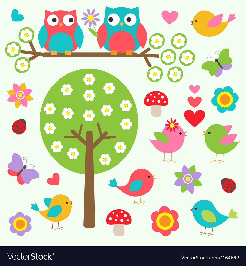 Birds and owls in spring forest vector
