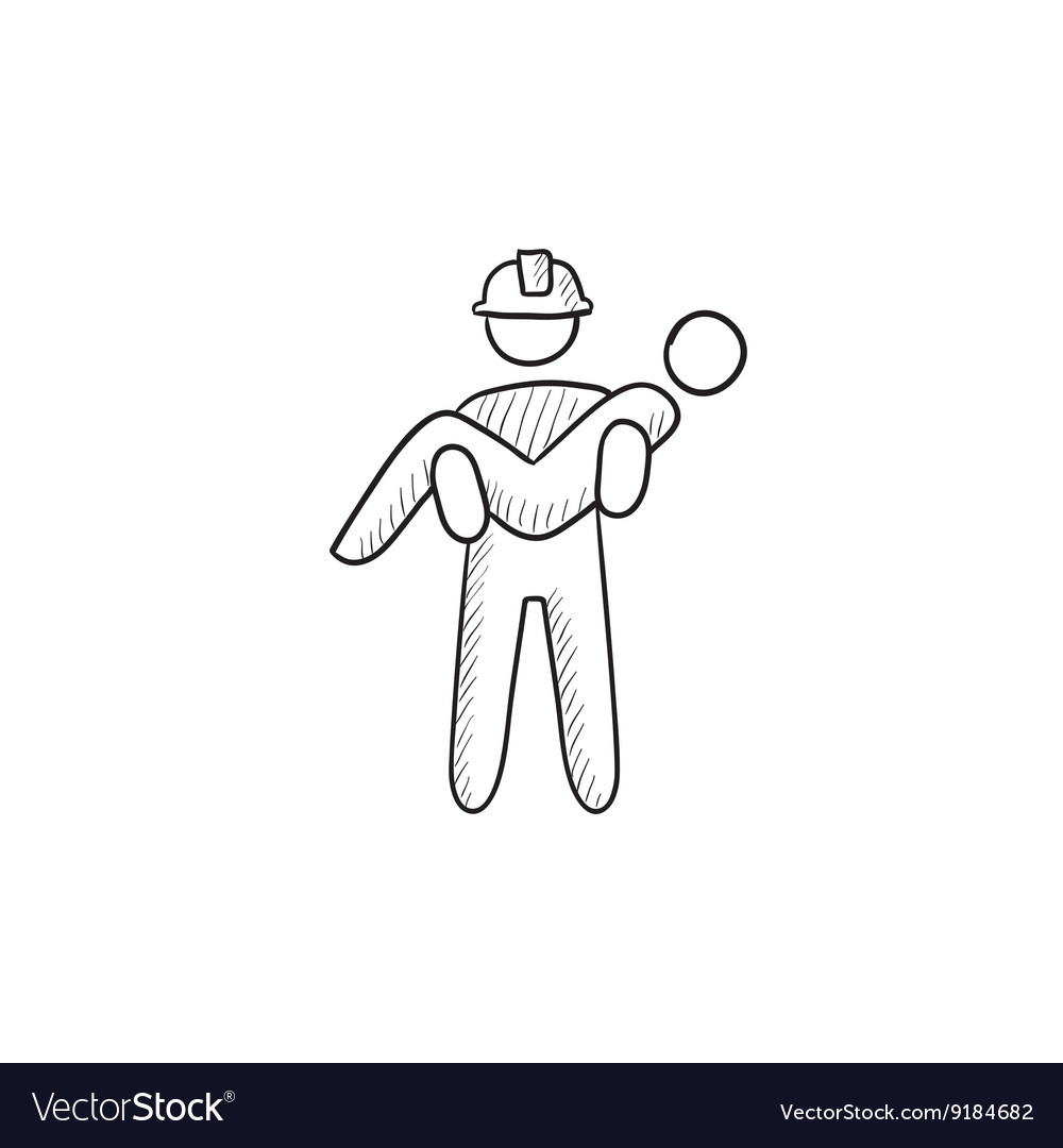 Fireman holding person on hands sketch icon vector