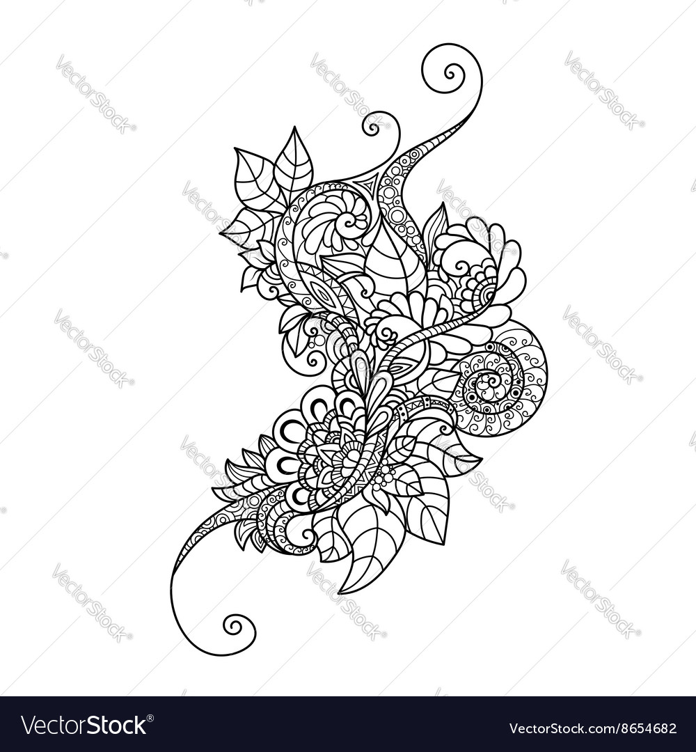 Zentangle floral pattern hand drawn design element vector