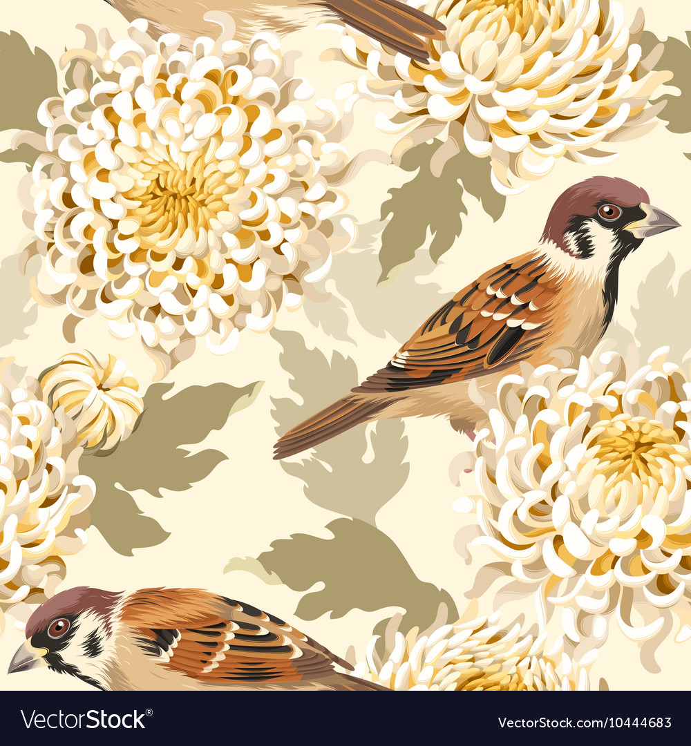 Seamless chrysanthemum and birds vector