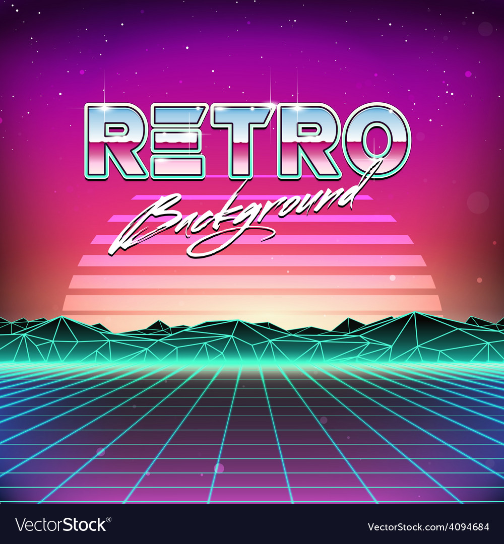 80s retro futurism scifi background vector