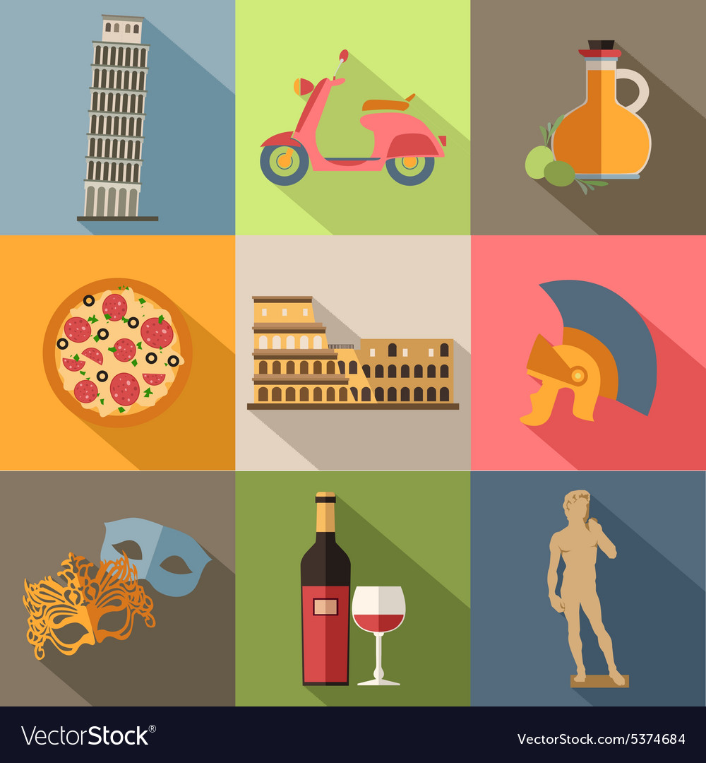 Set of italy travel colorful flat icons italy vector