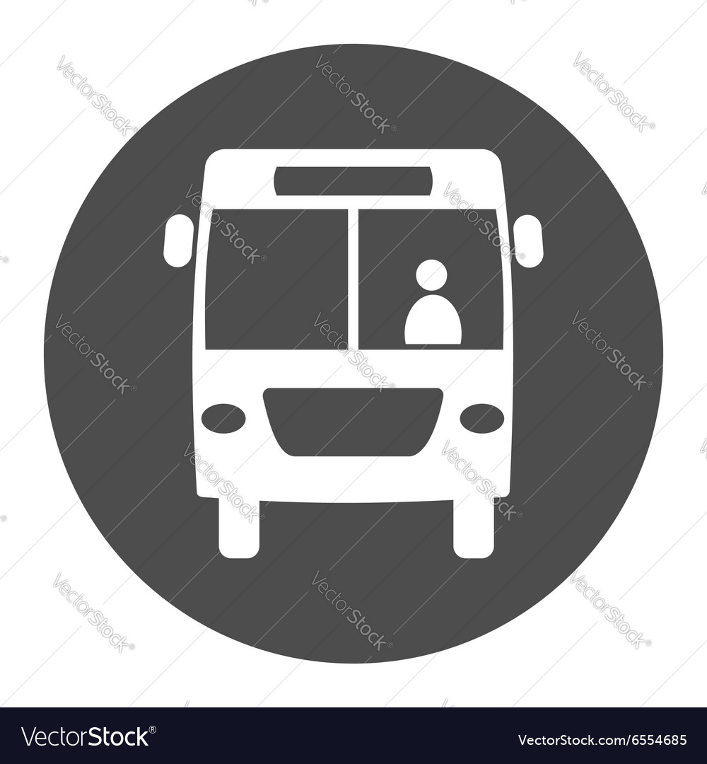 Bus round icon vector