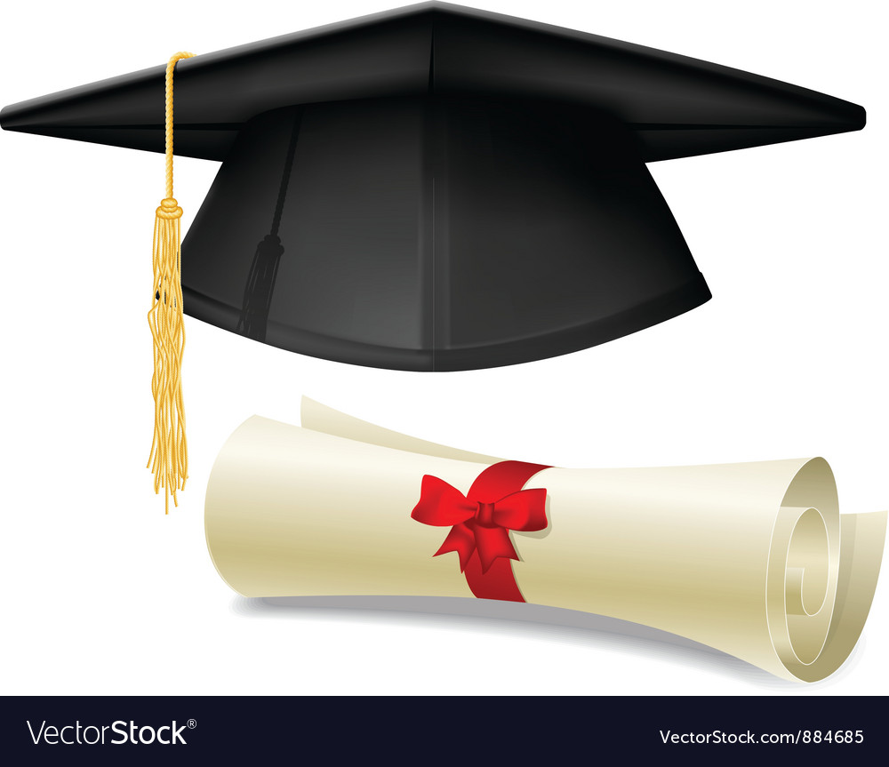 Mortarboard and diploma vector