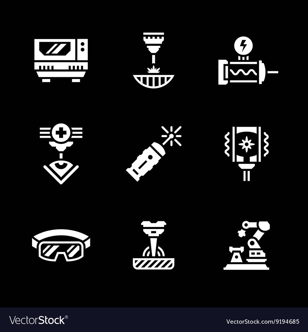 Set icons of laser vector