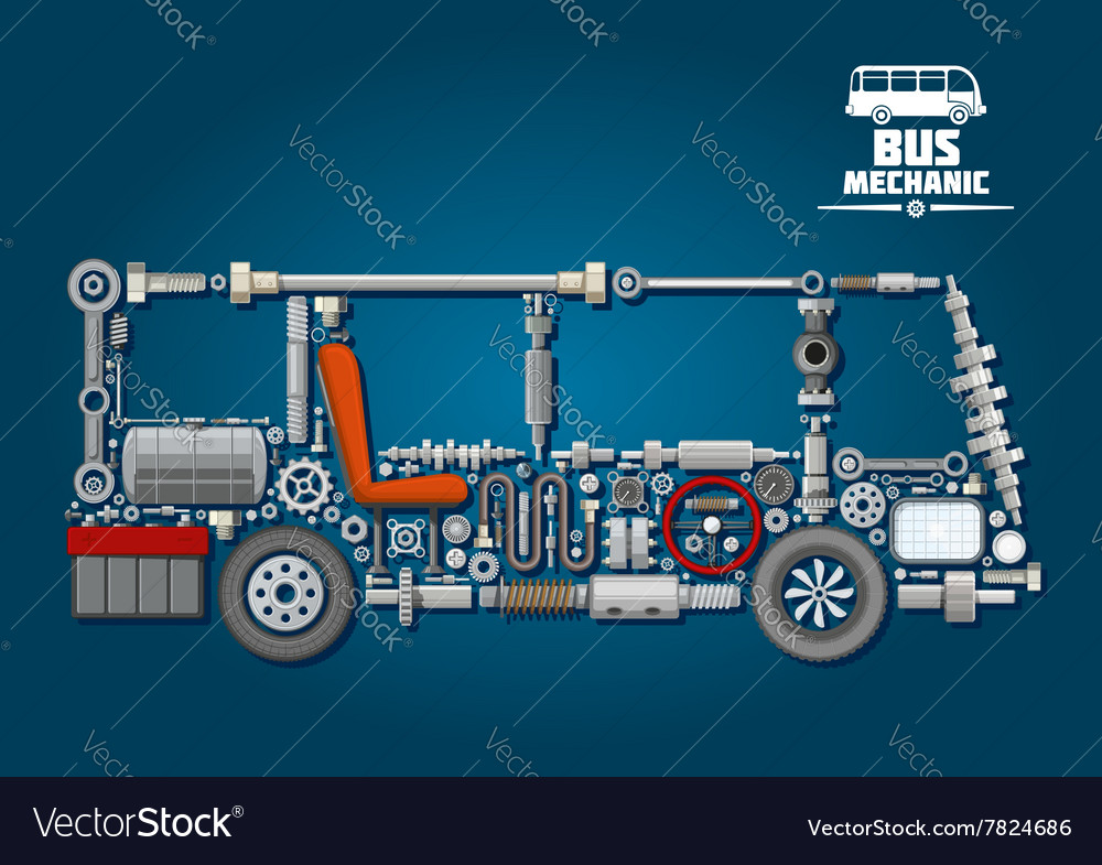 Bus silhouette with mechanical parts vector