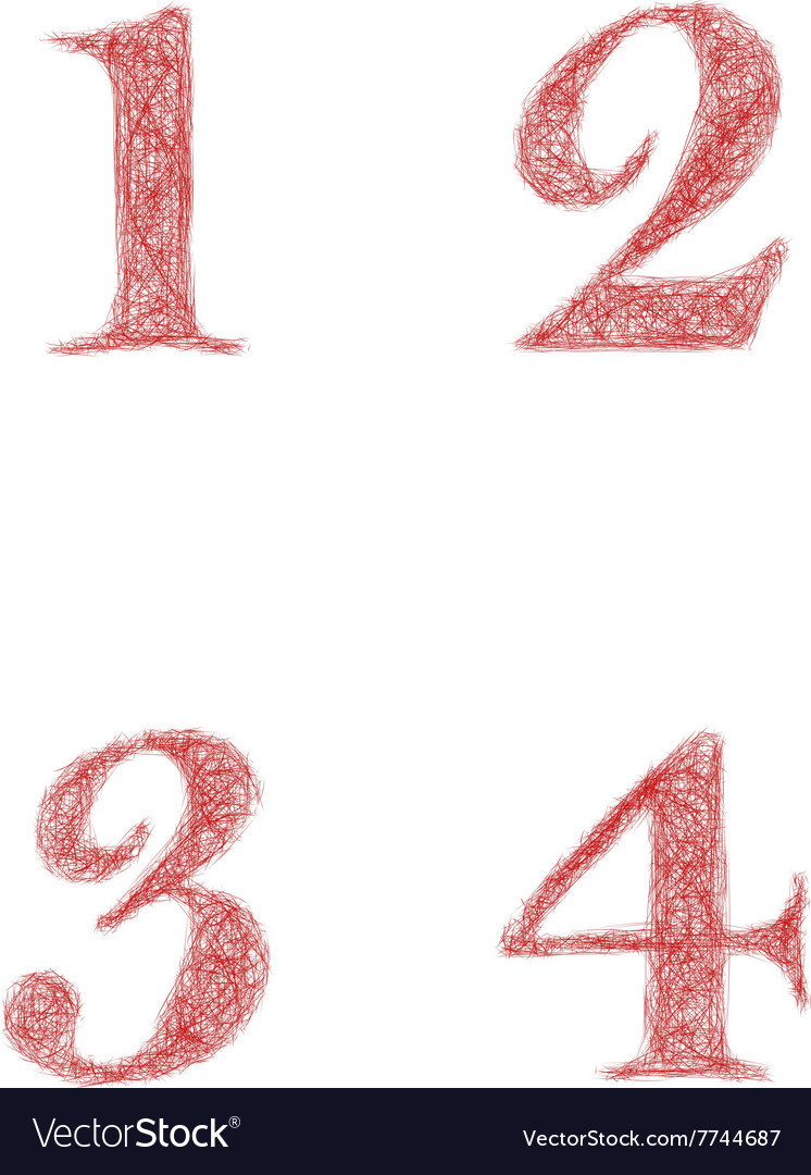 Red sketch font set  numbers 1 2 3 4 vector