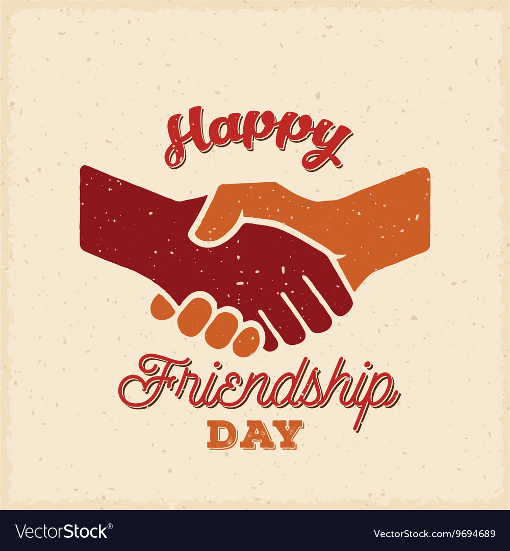 Happy friendship day retro card poster or vector