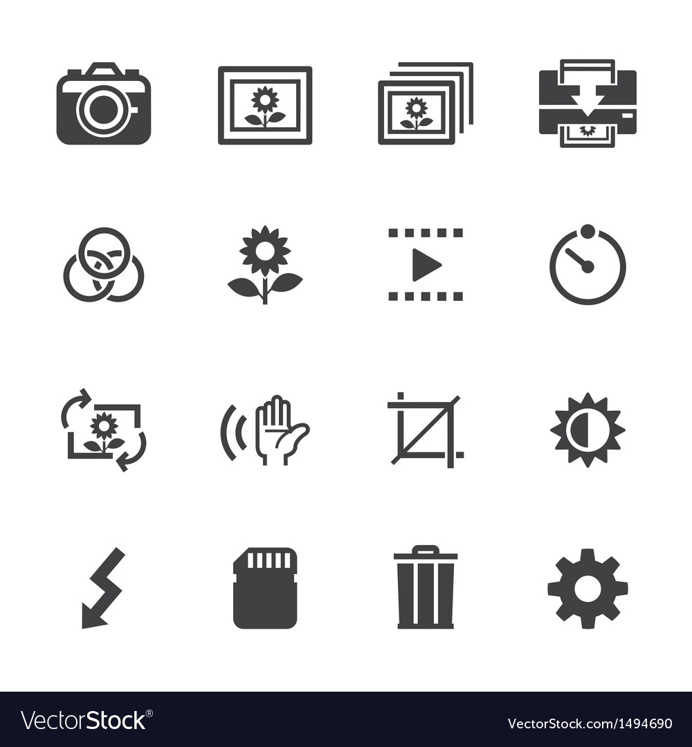 Photography icons and camera function icons vector