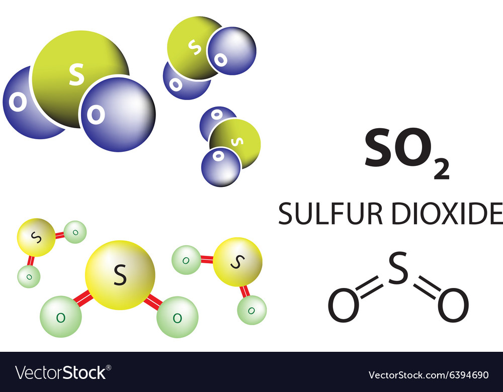 Sulfur dioxide molecule chemical structure vector