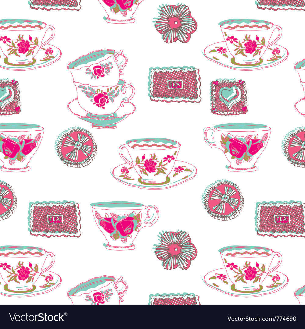 Tea cup wallpaper vector