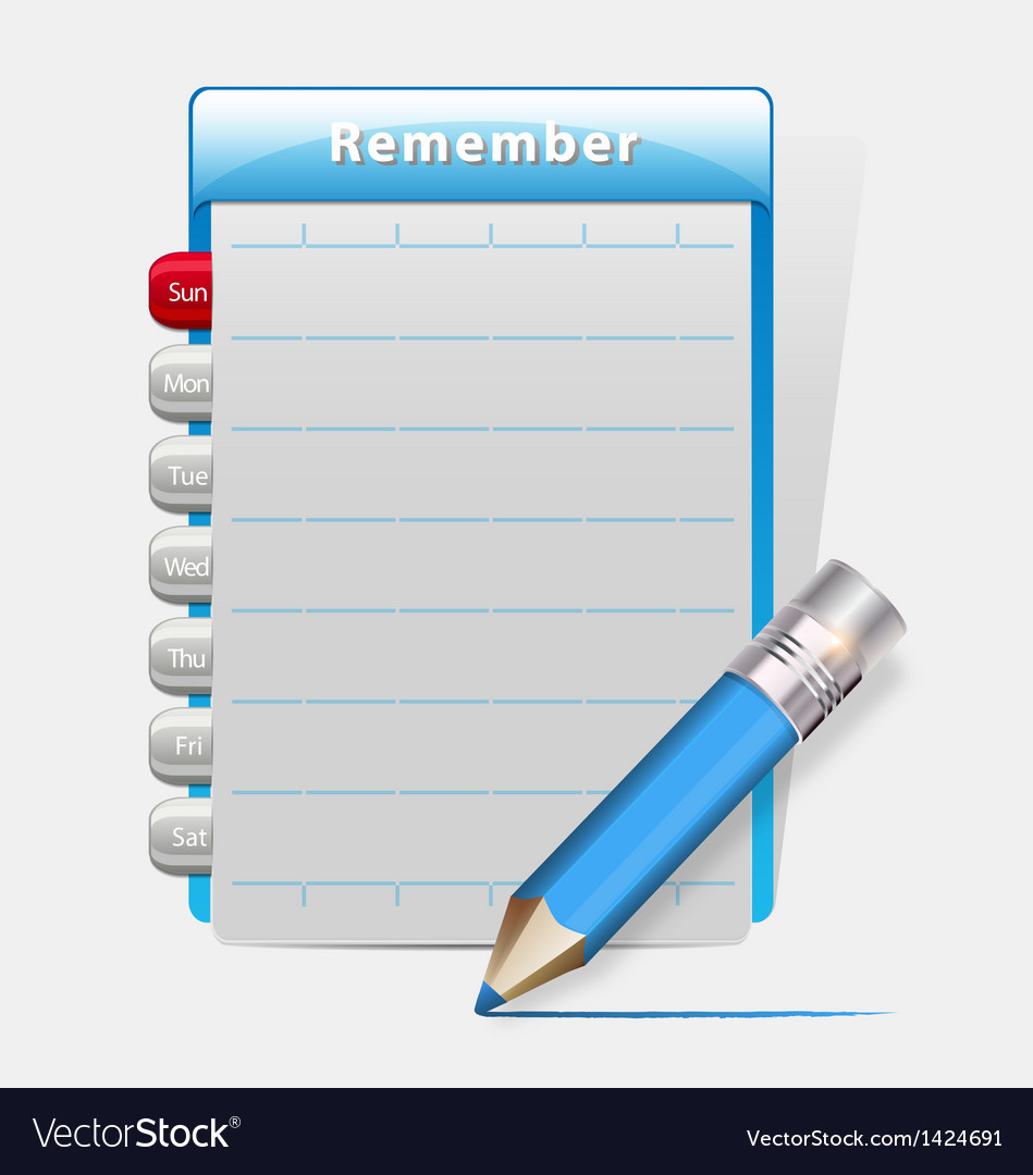 Remember blank diary with a blue pencil vector