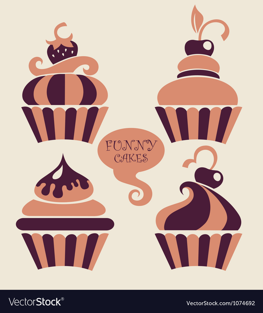 Funny cartoon cupcakes collection vector