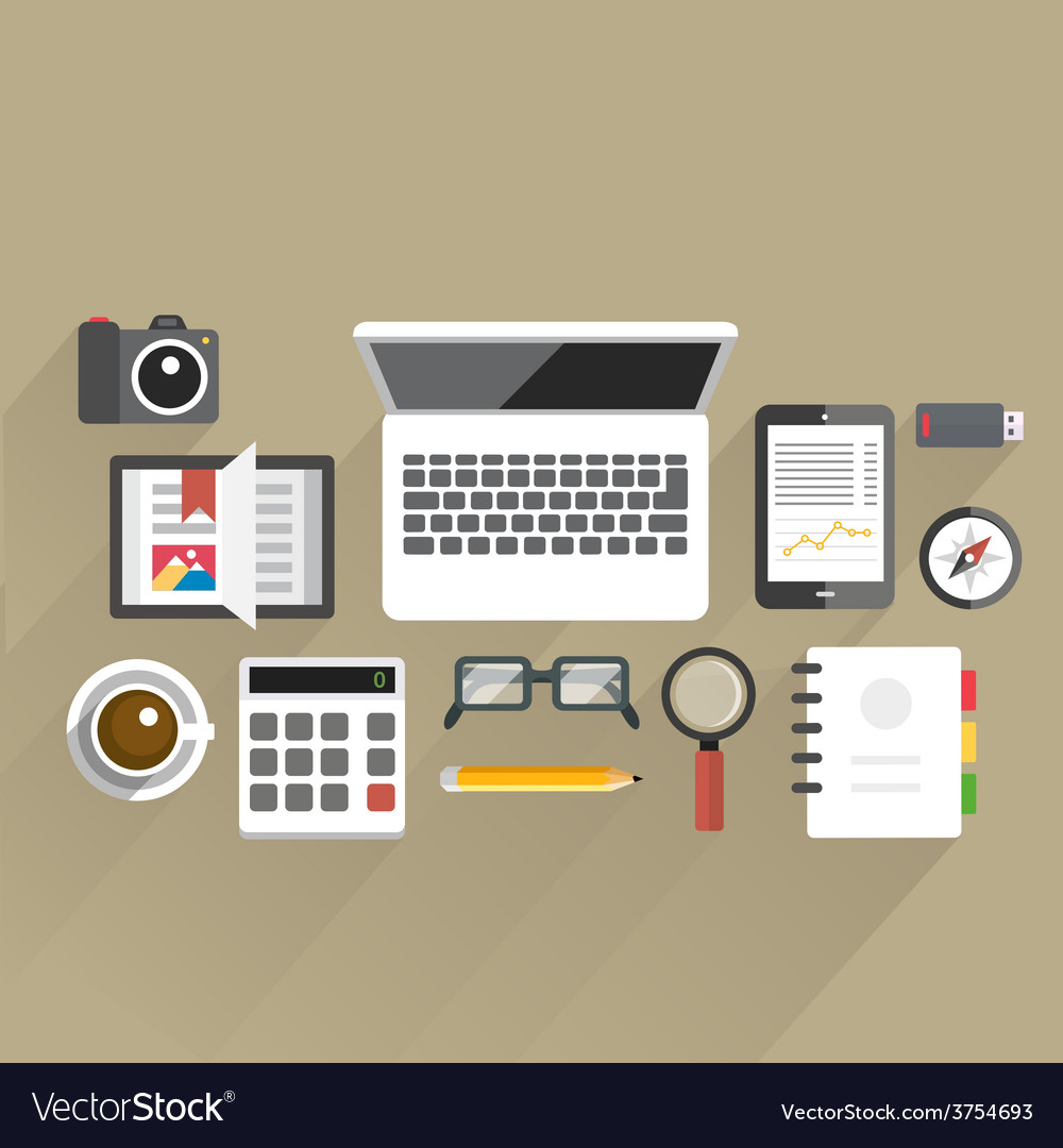 Flattableoffice04 vector