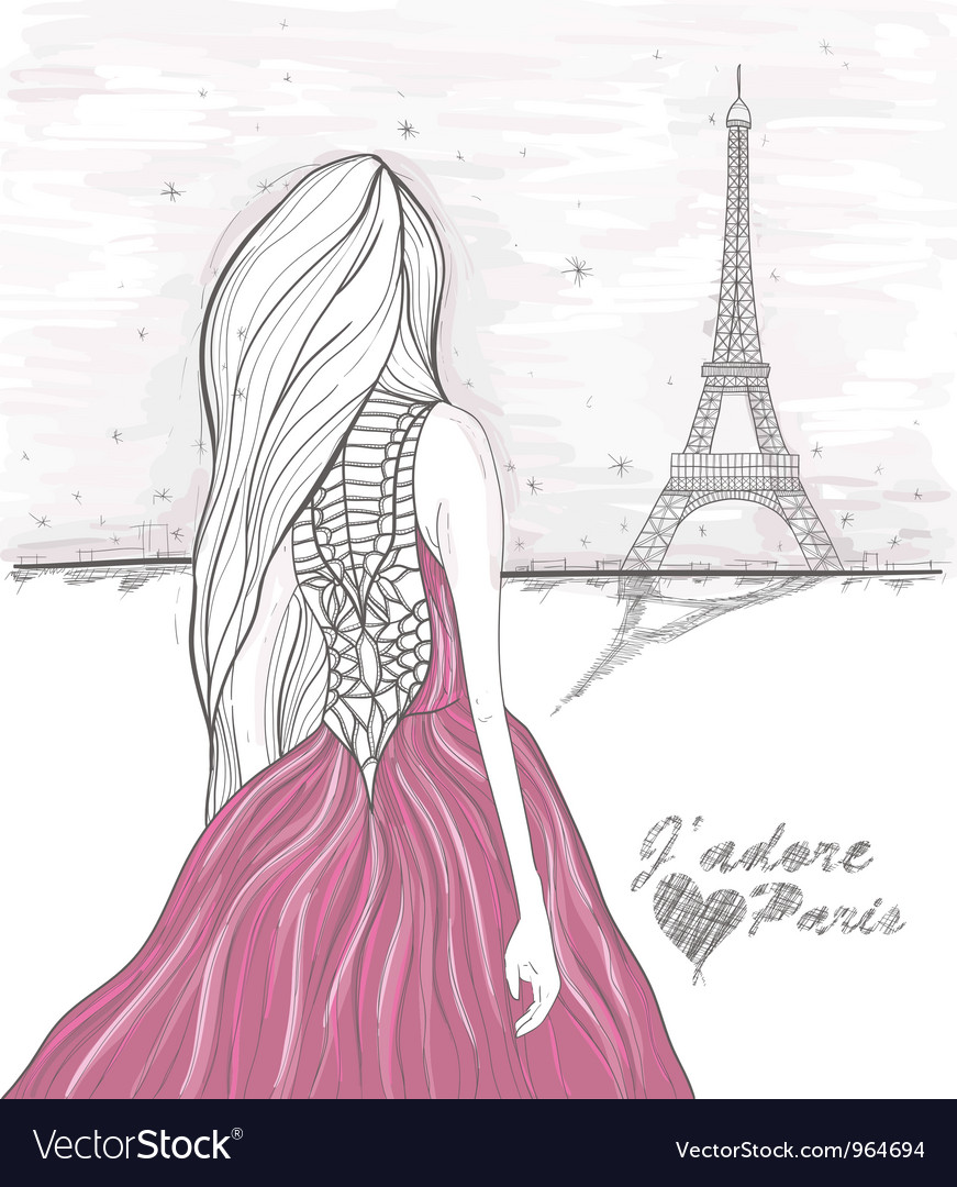 Girl in paris looks at eiffel tower vector