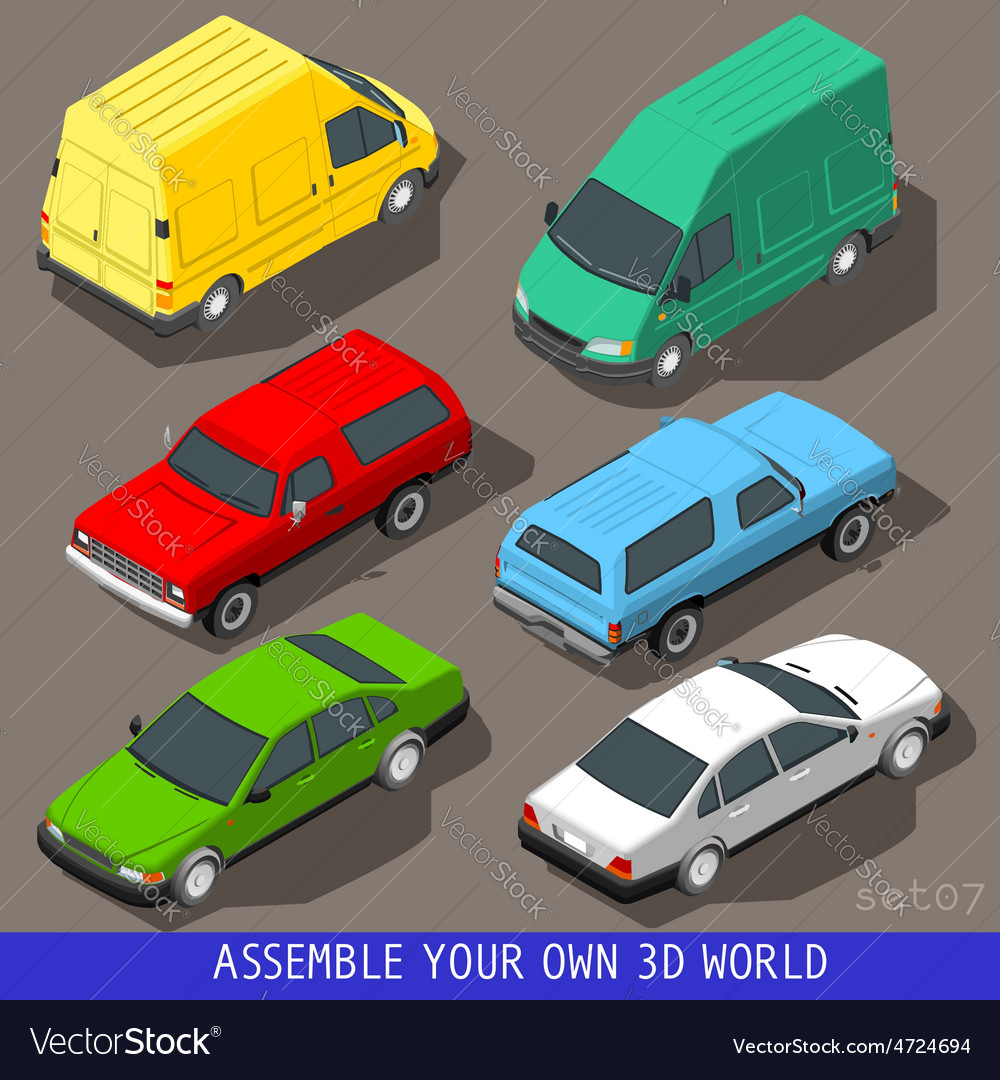 Isometric flat 3d vehicle set vector