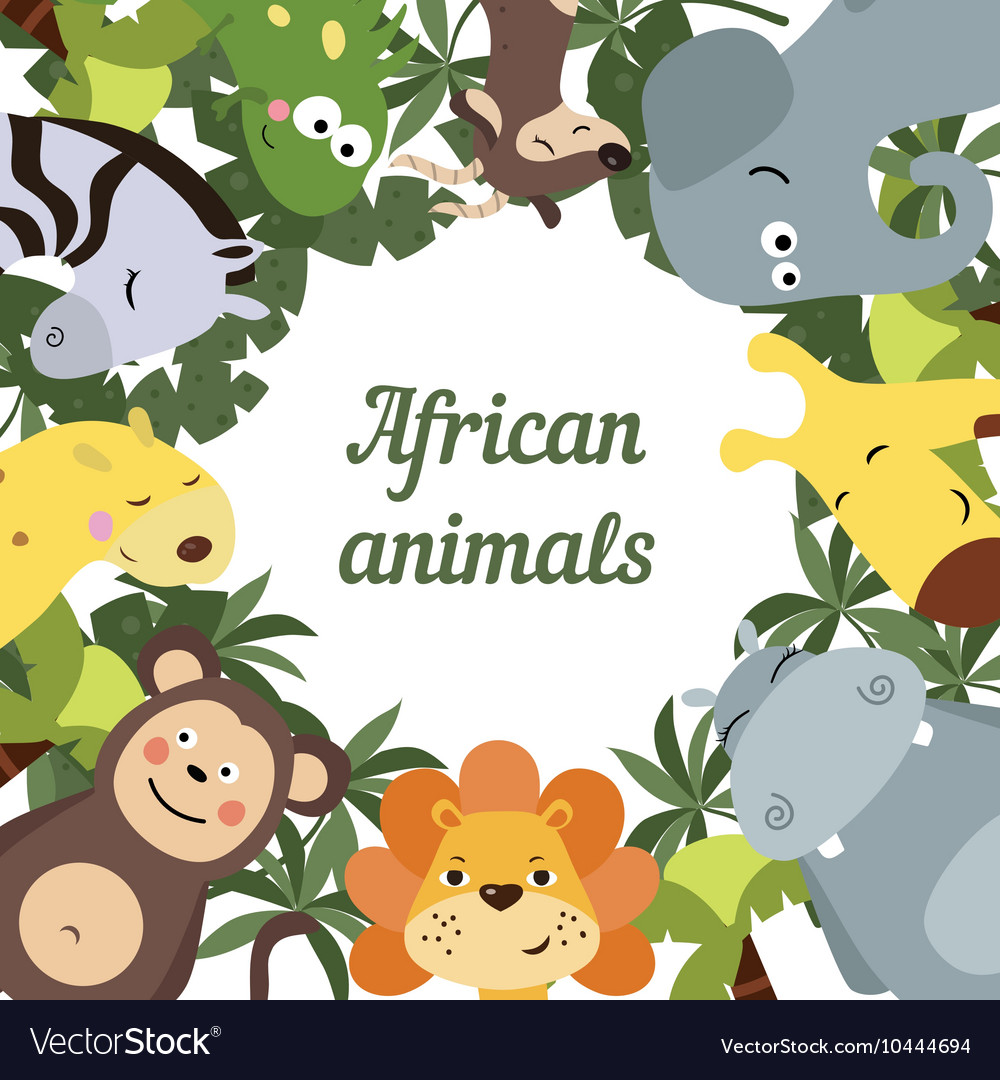 Round frame with african animals vector