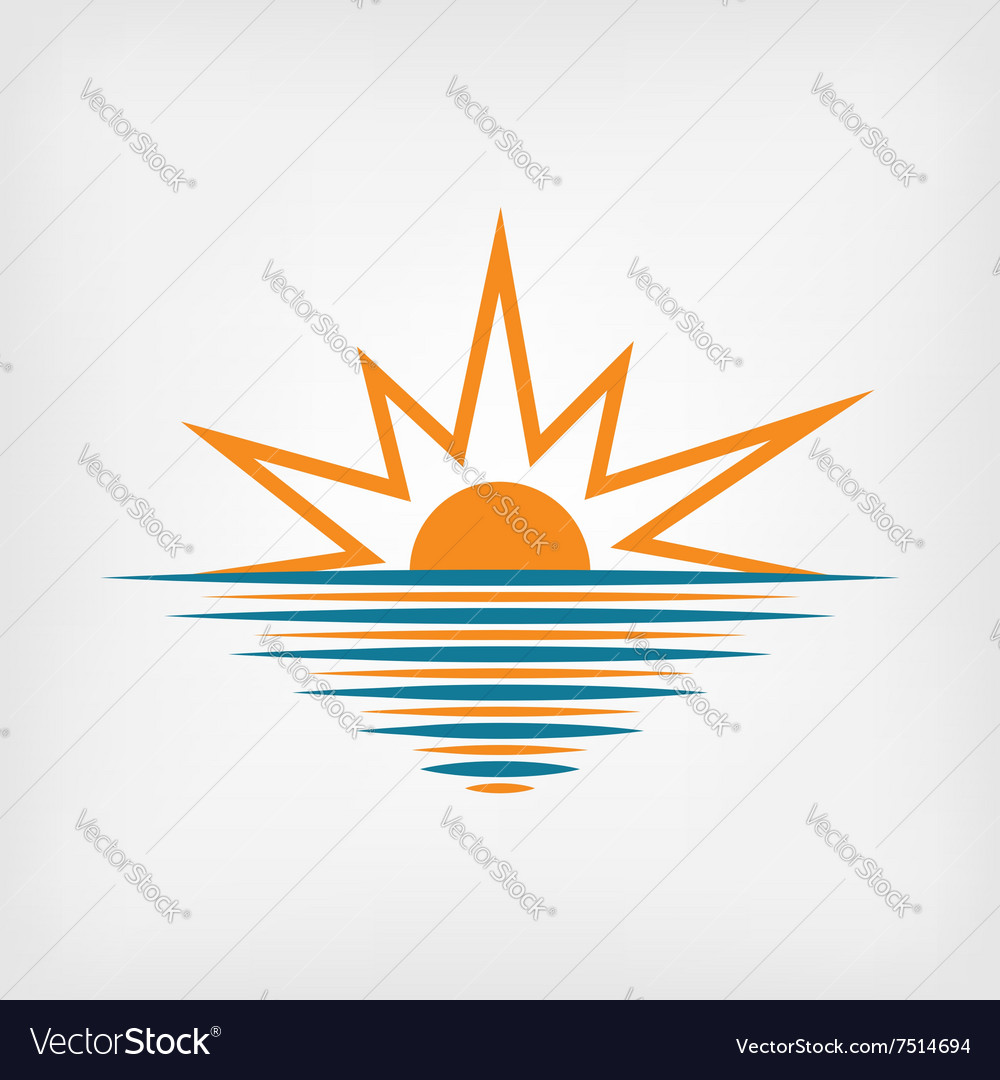 Sunset over sea vector