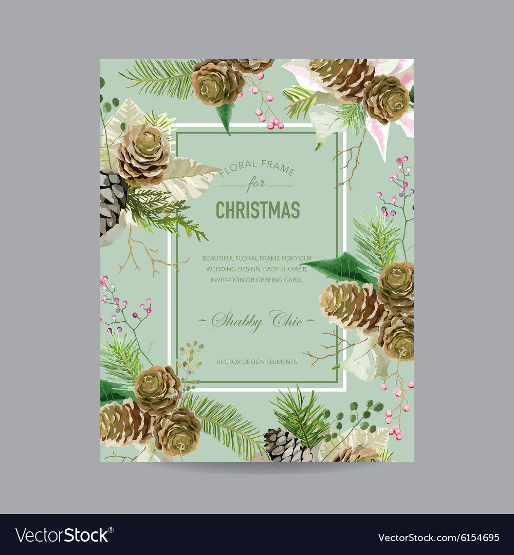 Christmas frame or card  in watercolor style vector