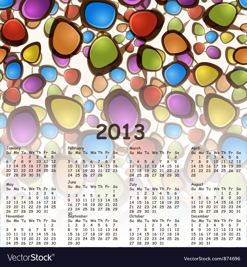 2013 abstract calendar with cartoon schemes of con vector