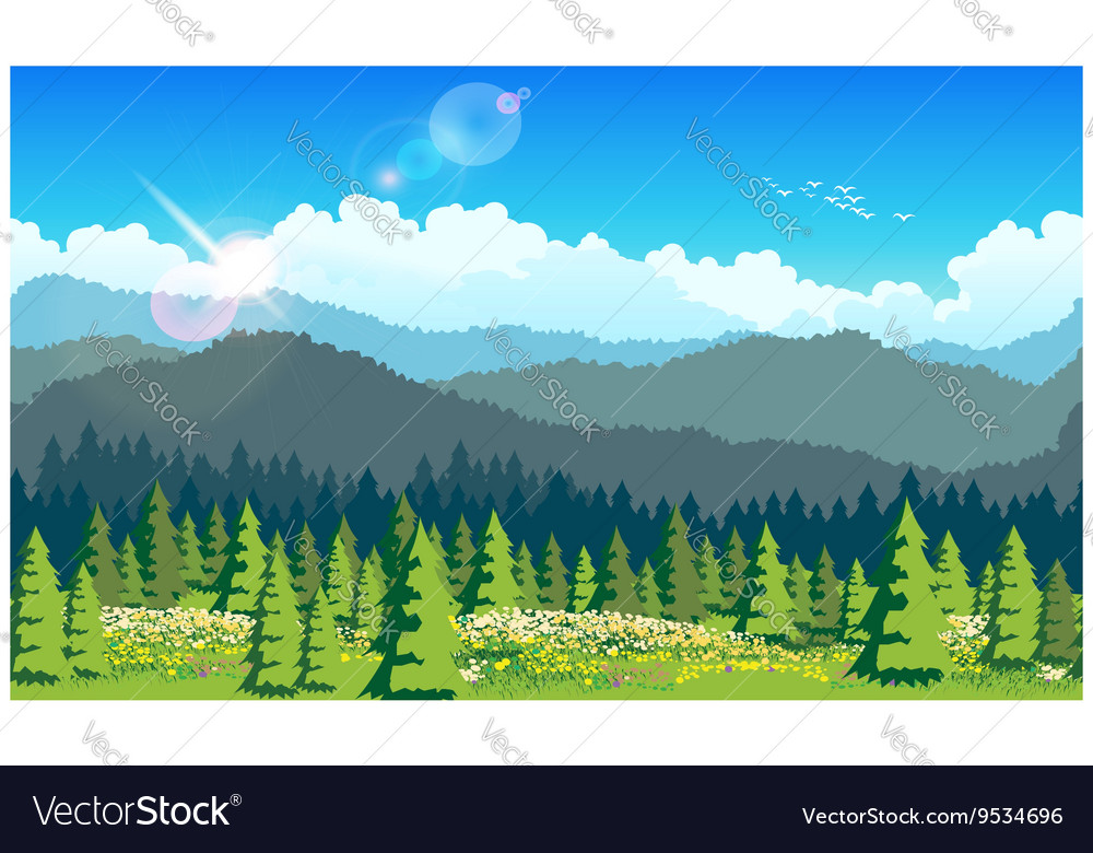 Picturesque forest vector