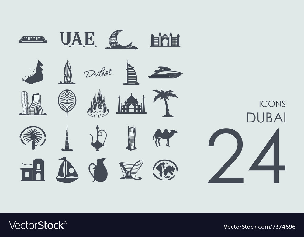 Set of dubai icons vector