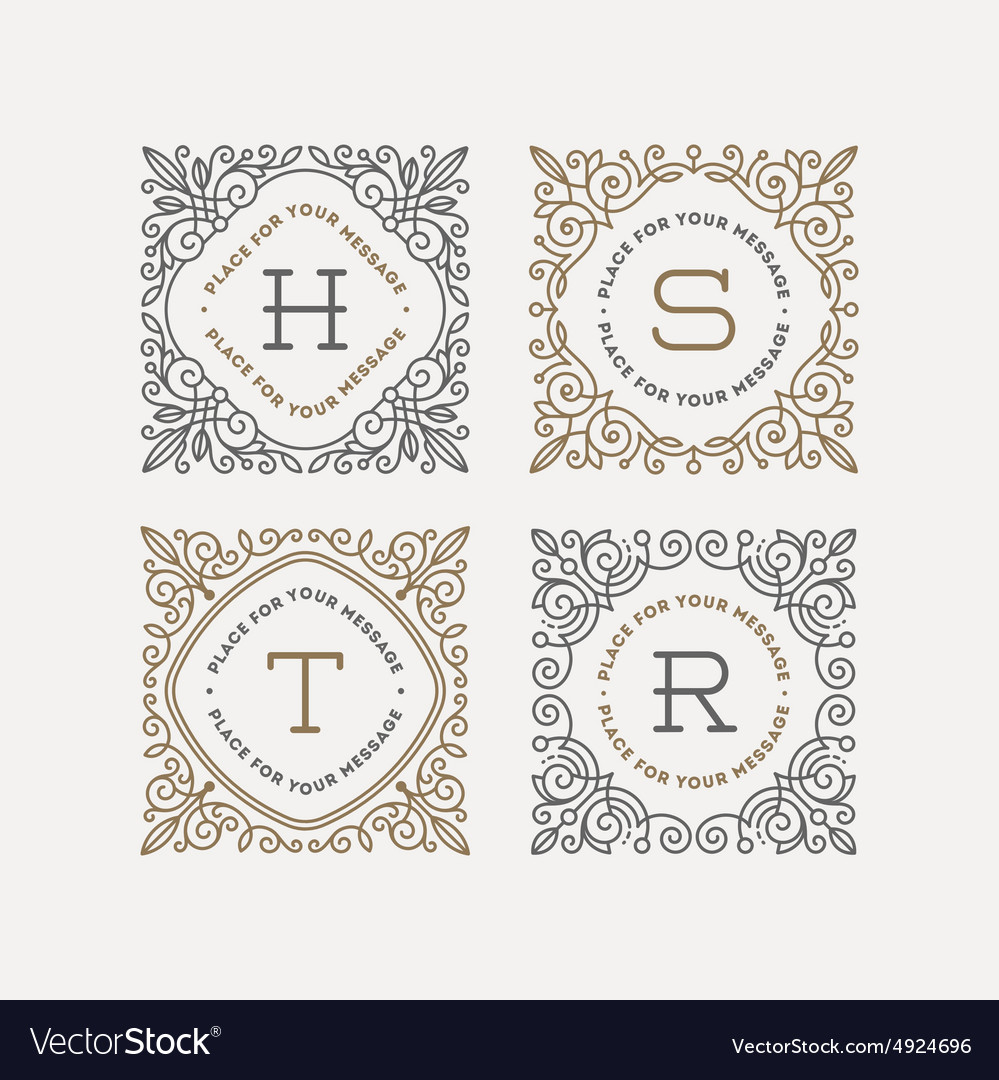 Set of monogram with flourishes frames vector