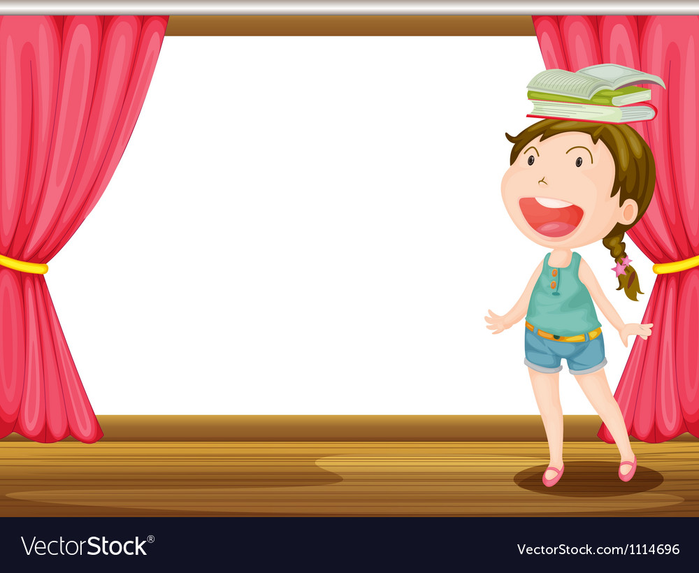 Smiling girl with books vector