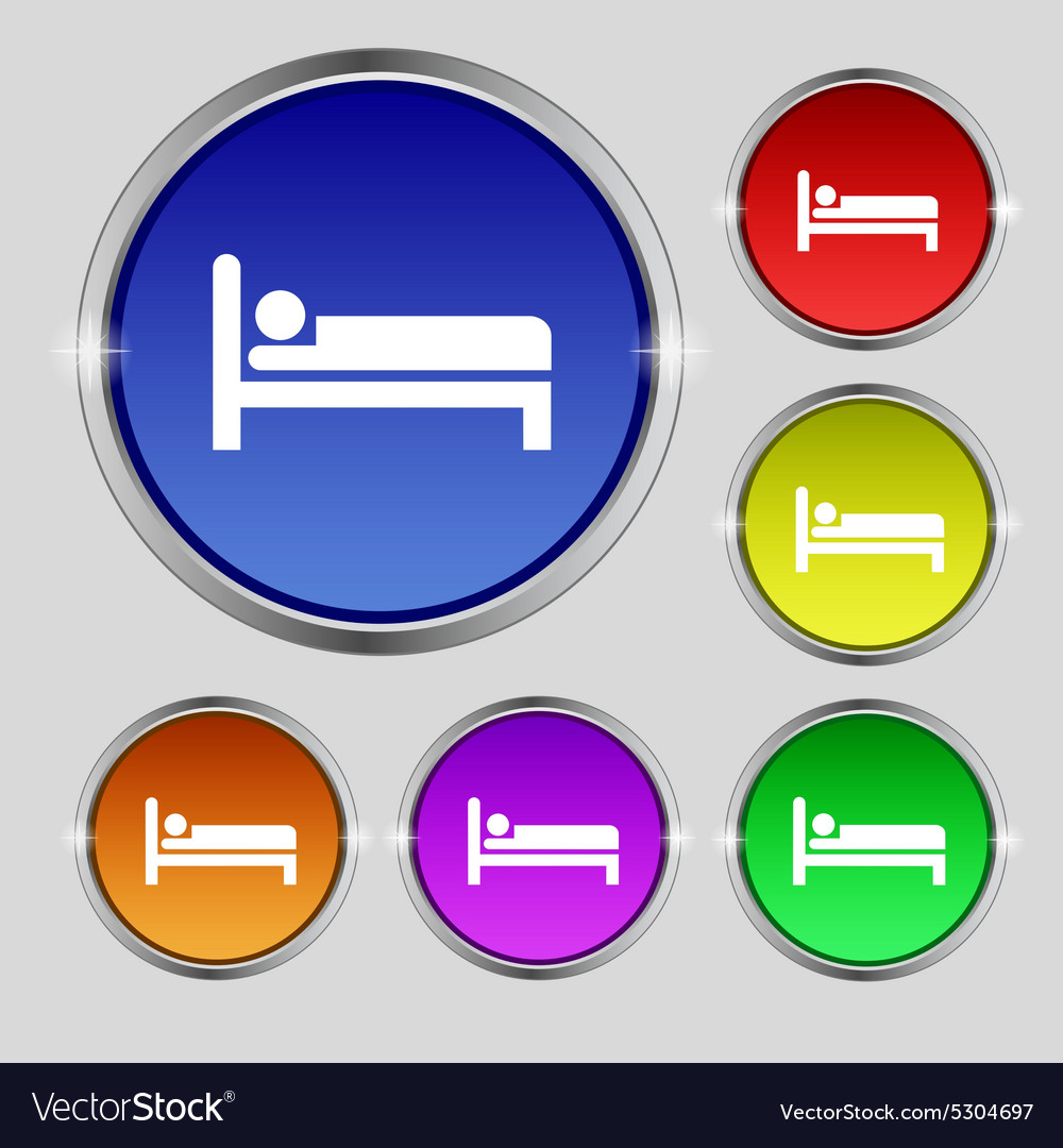 Hotel icon sign round symbol on bright colourful vector