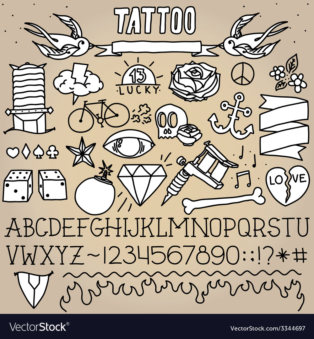 Old school tattoo objects pack vector