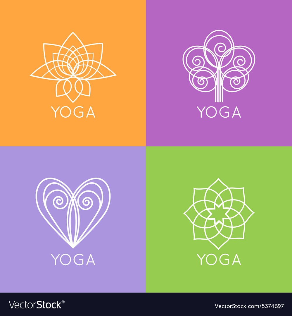 Set of outline yoga monograms and logos abstract vector