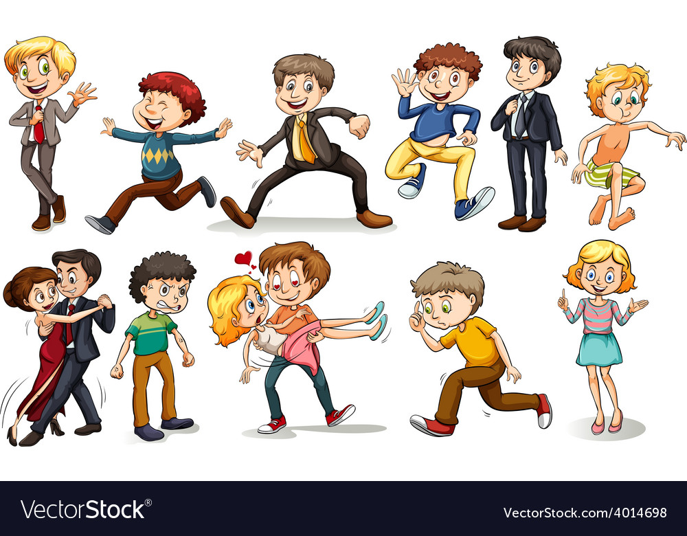 A group of people doing different activities vector