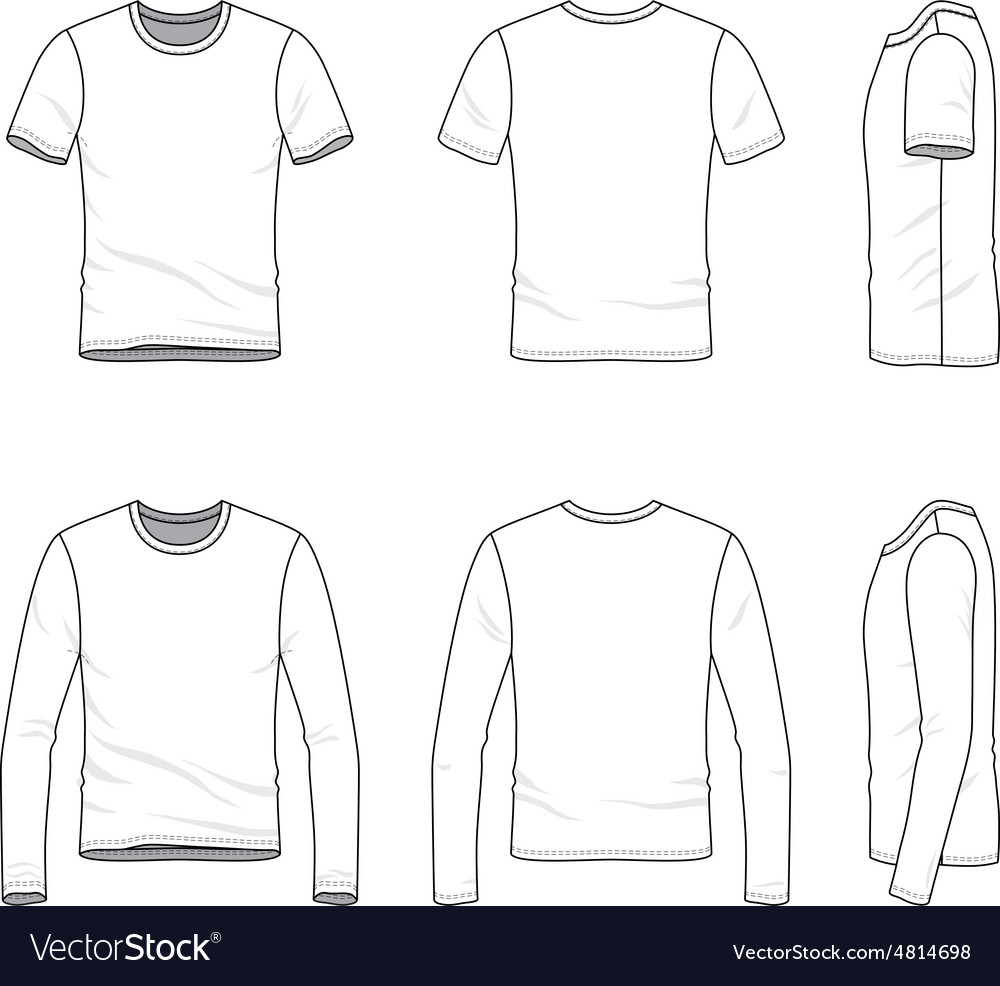 Simple outline drawing of a mens blank tshirt and vector