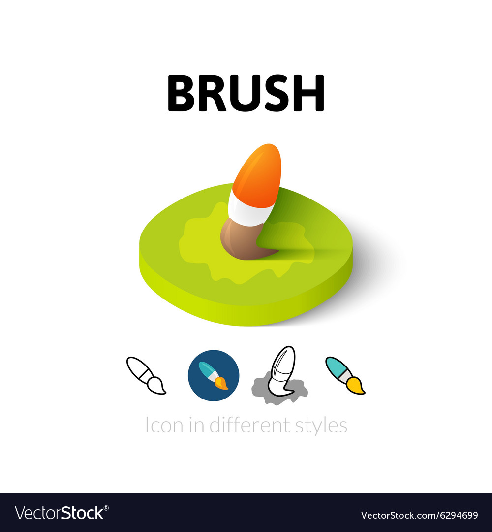 Brush icon in different style vector