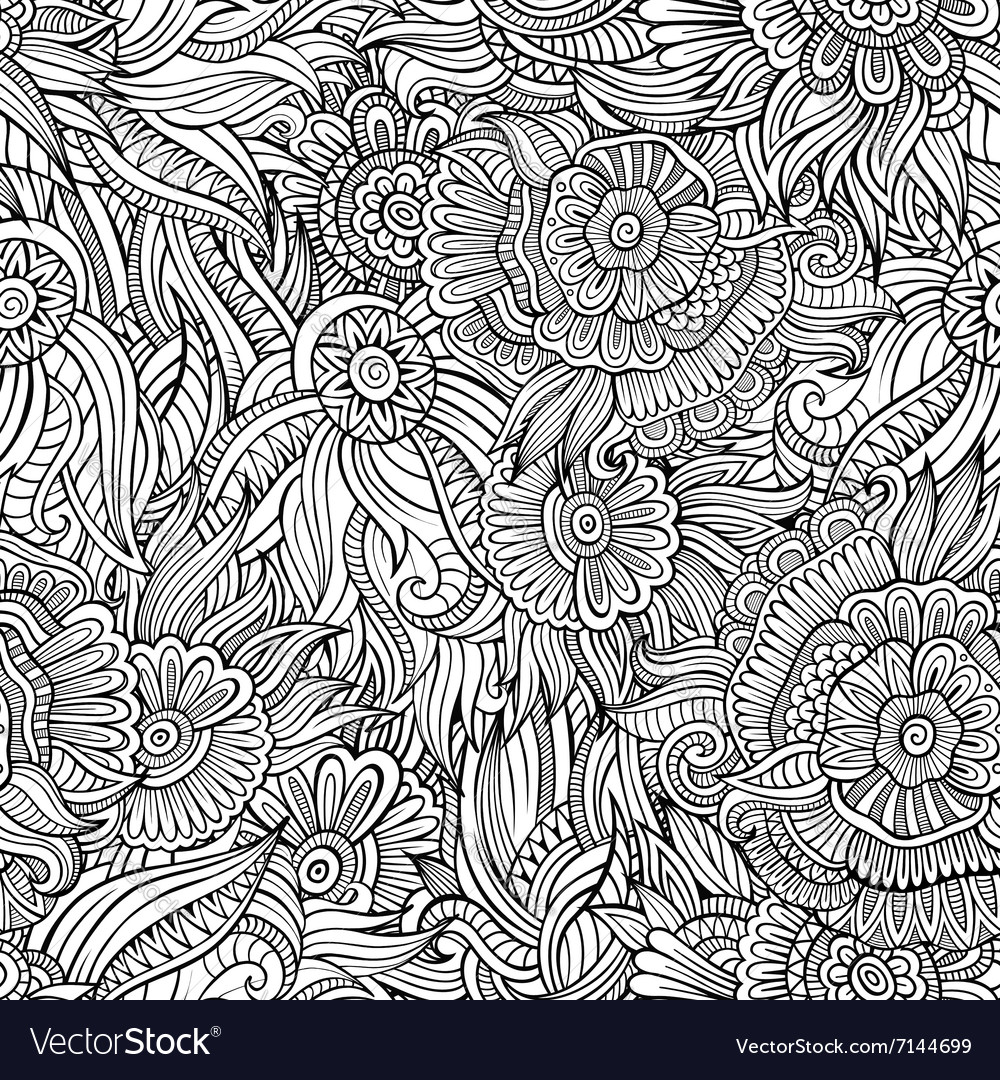 Seamless abstract flowers pattern vector