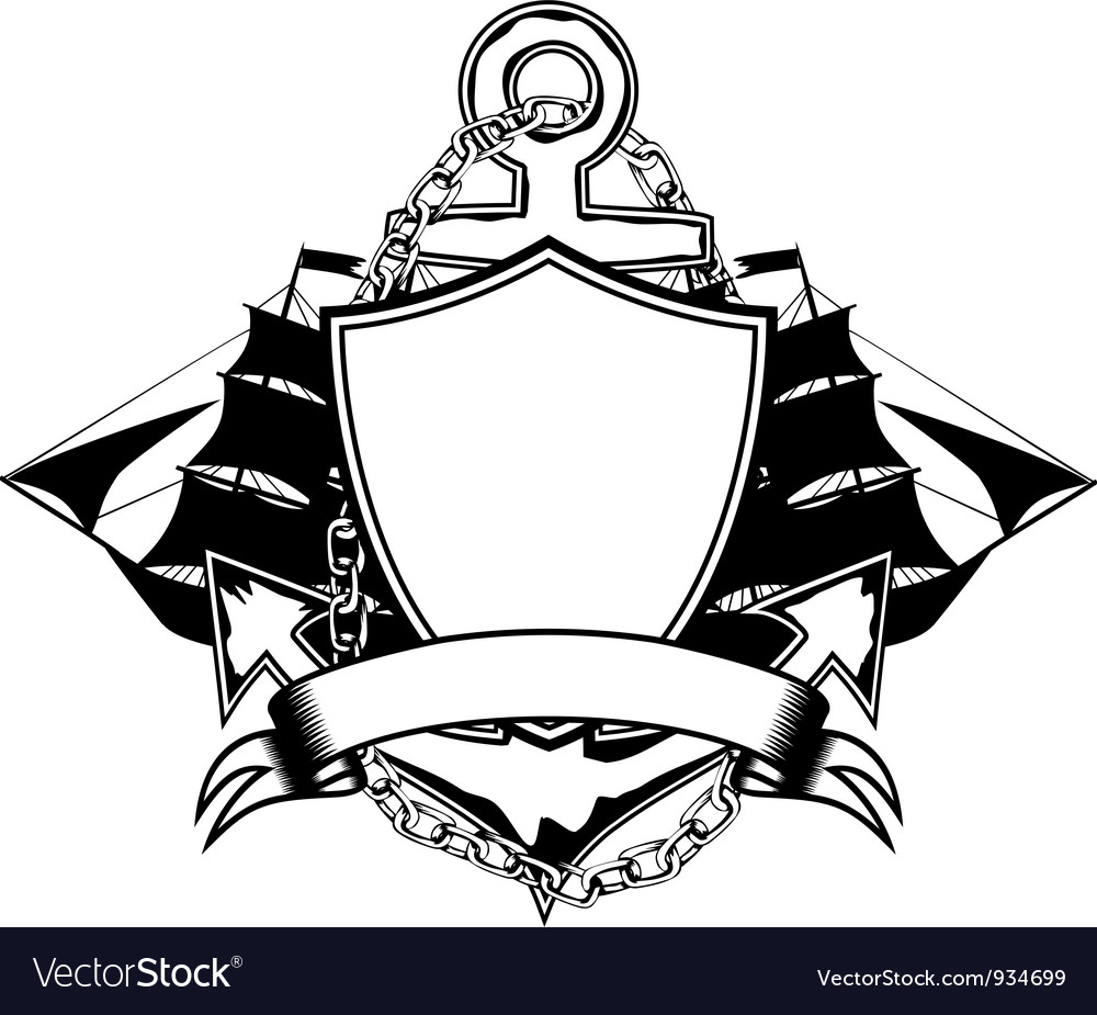 Ships and anchers vector