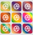 Basketball icon Nine buttons with bright gradients vector image